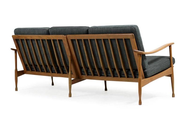 Mid-20th Century 1950s Italian Organic Lounge Sofa Beechwood Mid-Century Modern, New Upholstery For Sale