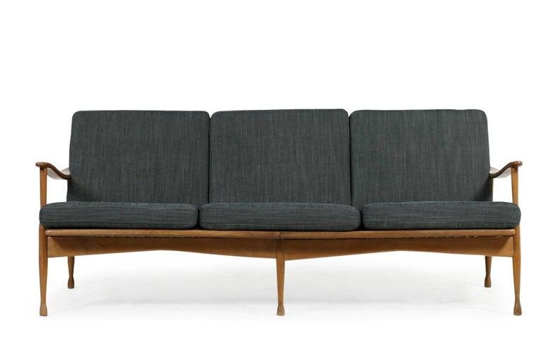 Fabric 1950s Italian Organic Lounge Sofa Beechwood Mid-Century Modern, New Upholstery For Sale