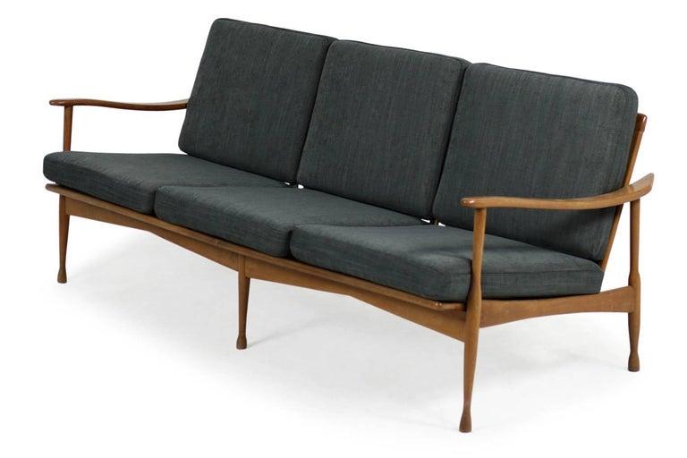 1950s Italian Organic Lounge Sofa Beechwood Mid-Century Modern, New Upholstery For Sale 2