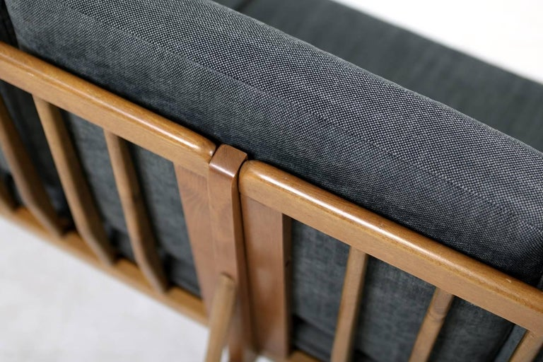 1950s Italian Organic Lounge Sofa Beechwood Mid-Century Modern, New Upholstery For Sale 4