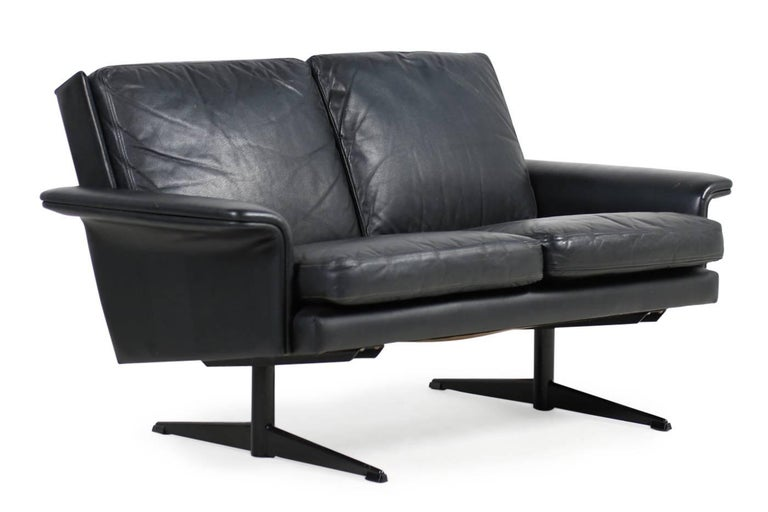 1960s danish modern leather sofa by h w klein for bramin two seat steel legs for sale at 1stdibs. Black Bedroom Furniture Sets. Home Design Ideas