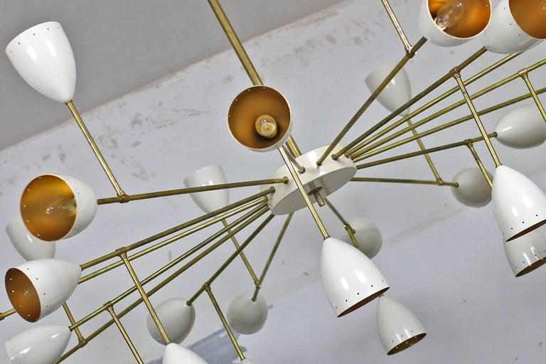Modern 1 of 2 Large Italian Metal & Brass Supernova Chandelier 32 Lights Stilnovo Style For Sale