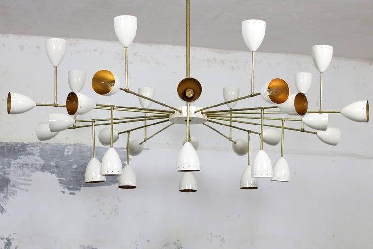 1 of 2 Large Italian Metal & Brass Supernova Chandelier 32 Lights Stilnovo Style For Sale 3