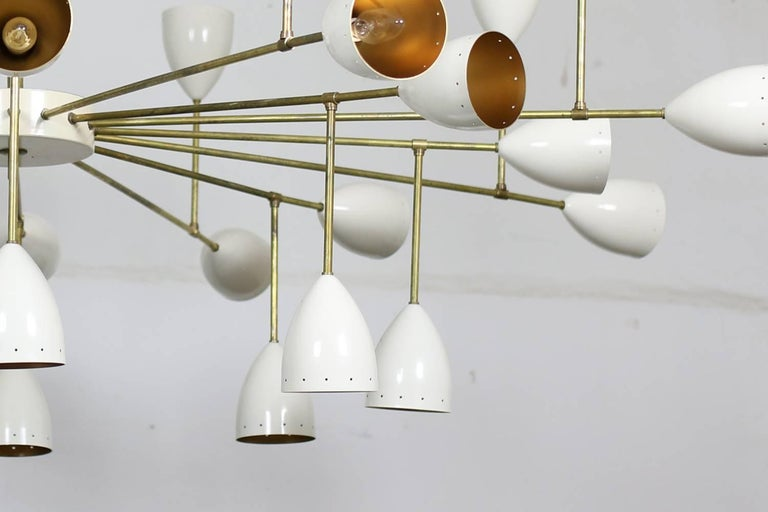 Contemporary 1 of 2 Large Italian Metal & Brass Supernova Chandelier 32 Lights Stilnovo Style For Sale