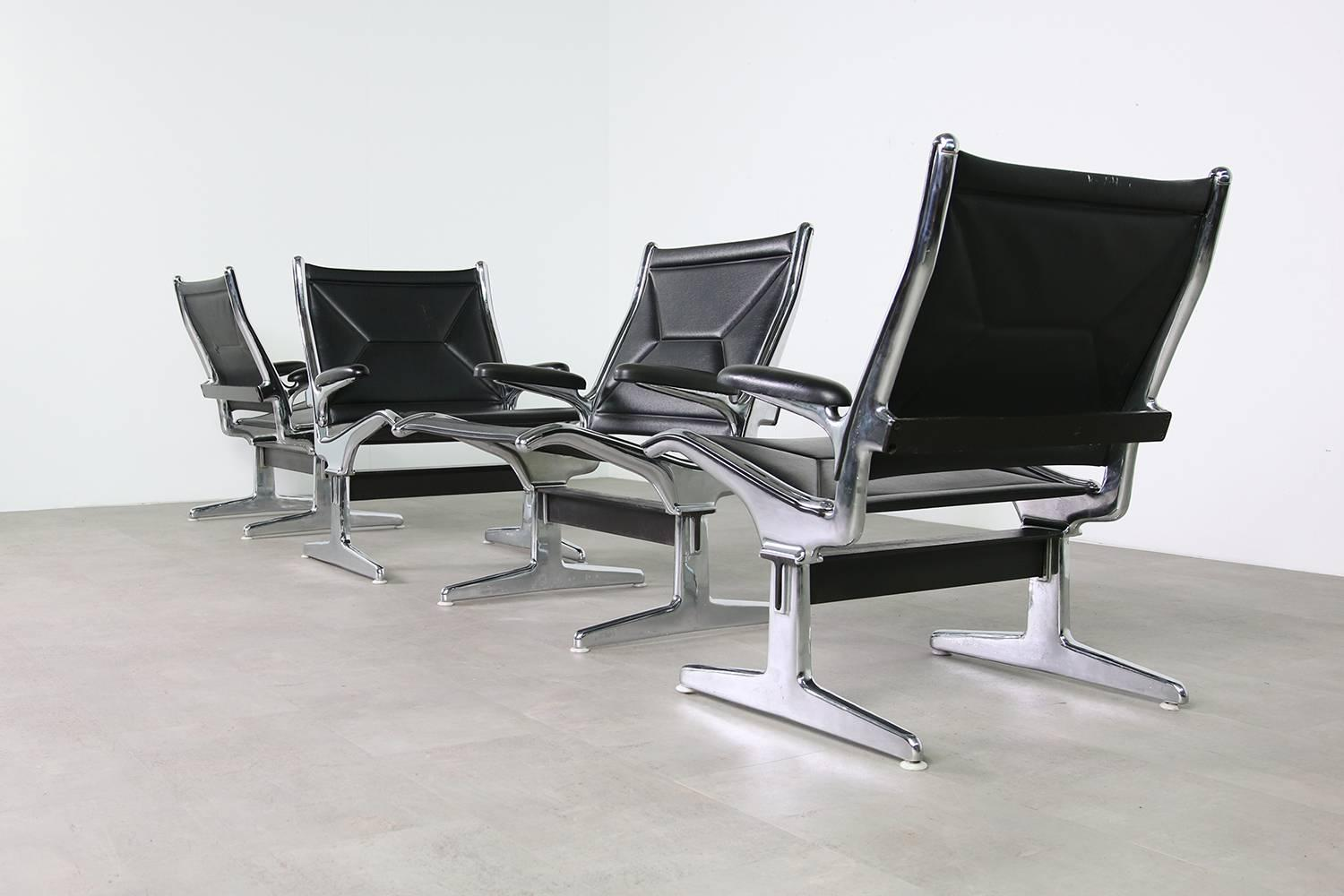 Danish Pair Of 1960s Charles Eames Airport Chairs For Herman Miller, Black  And Chrome For