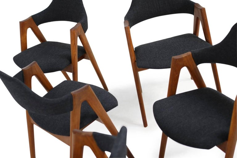 Sechs Kai Kristiansen Esszimmerstühle aus Teak Model Compass SVA Møbler, 1960er 3