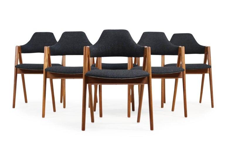 Sechs Kai Kristiansen Esszimmerstühle aus Teak Model Compass SVA Møbler, 1960er 5