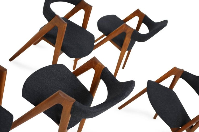 Sechs Kai Kristiansen Esszimmerstühle aus Teak Model Compass SVA Møbler, 1960er 6