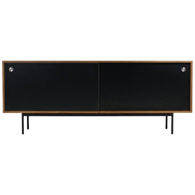 Minimalist Teak Sideboard Nathan Lindberg Design, Black Formica Sliding Doors