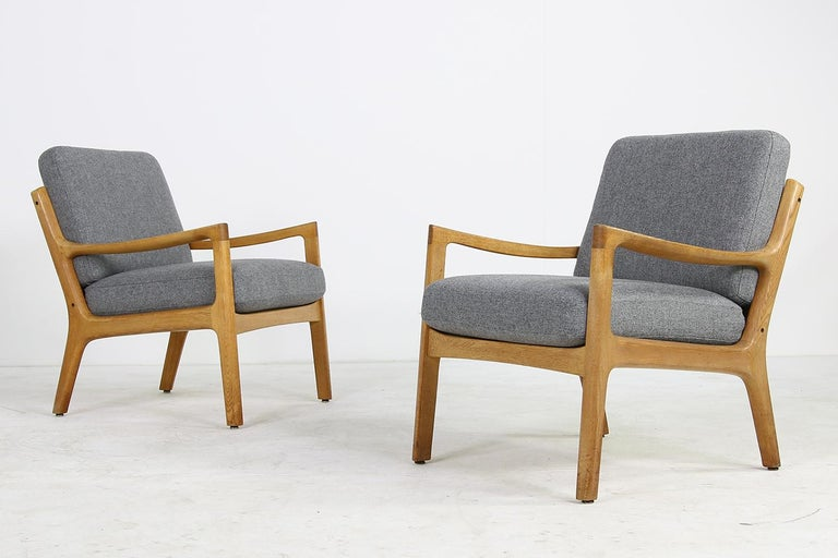 1960s Oak Living Room Set Sofa & Two Lounge Chairs Ole Wanscher, Danish Modern In Good Condition For Sale In Hamminkeln, DE