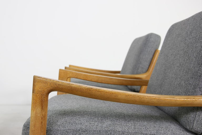 Mid-20th Century 1960s Oak Living Room Set Sofa & Two Lounge Chairs Ole Wanscher, Danish Modern For Sale