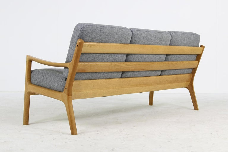Fabric 1960s Oak Living Room Set Sofa & Two Lounge Chairs Ole Wanscher, Danish Modern For Sale