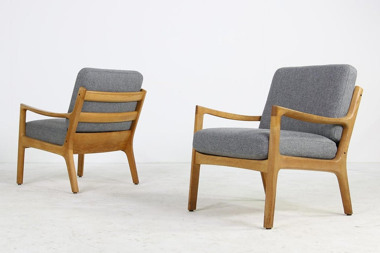 1960s Oak Living Room Set Sofa & Two Lounge Chairs Ole Wanscher, Danish Modern For Sale 3
