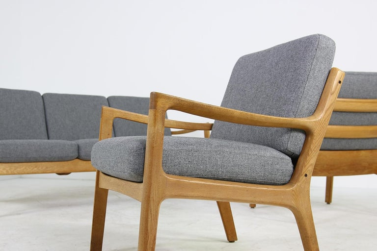 1960s Oak Living Room Set Sofa & Two Lounge Chairs Ole Wanscher, Danish Modern For Sale 8