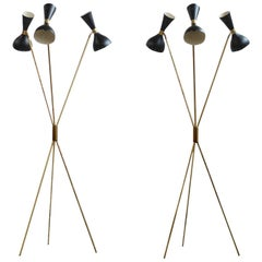 Amazing Italian Minimalist Adjustable Tripod Floor Lamp Brass in Stilnovo Style