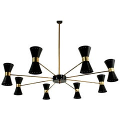 Large Eight-Arm Italian Modernist Brass Diabolo Chandelier Stilnovo Style Black