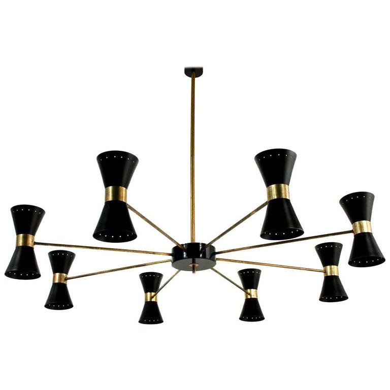 Große acht-Arm italienischen modernistischen Messing Kronleuchter Diabolo Stilnovo Stil schwarz 1