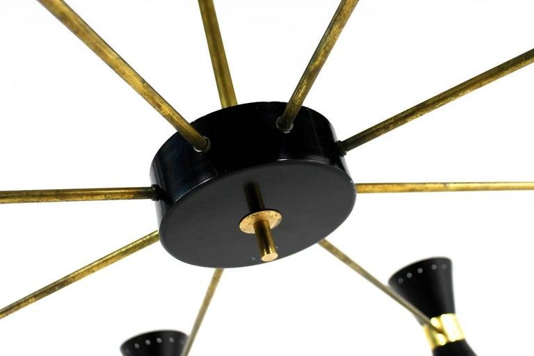 Große acht-Arm italienischen modernistischen Messing Kronleuchter Diabolo Stilnovo Stil schwarz 5