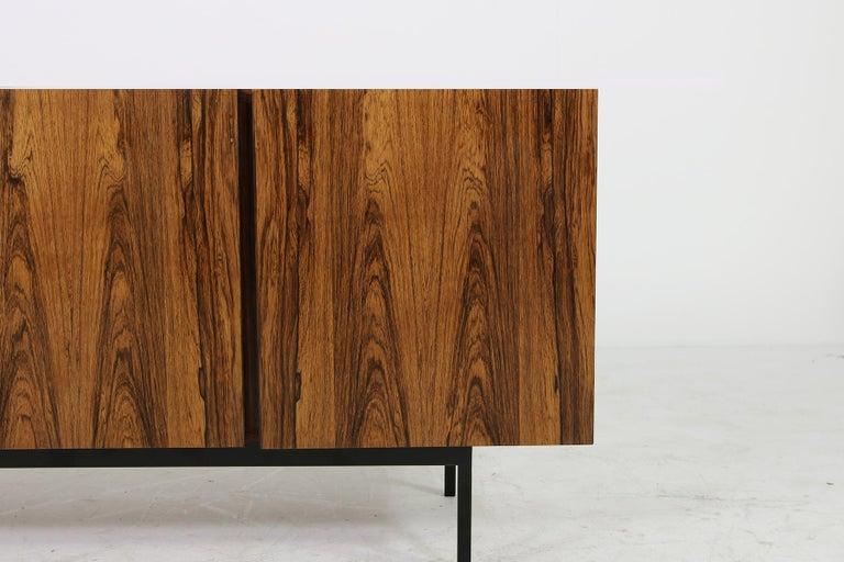 German Rare 1960s Minimalist Sideboard on Metal Base, Drawers Inside Mid-Century Modern For Sale