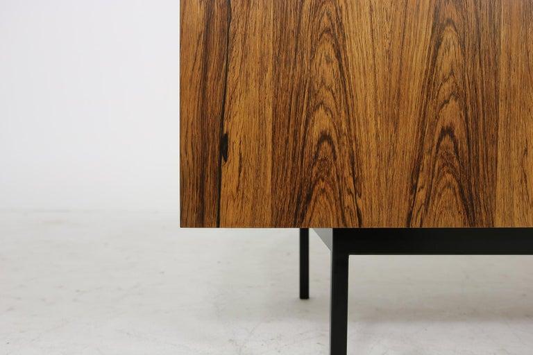 Rare 1960s Minimalist Sideboard on Metal Base, Drawers Inside Mid-Century Modern In Good Condition For Sale In Hamminkeln, DE