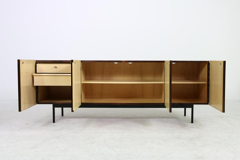 Rare 1960s Minimalist Sideboard on Metal Base, Drawers Inside Mid-Century Modern For Sale 1