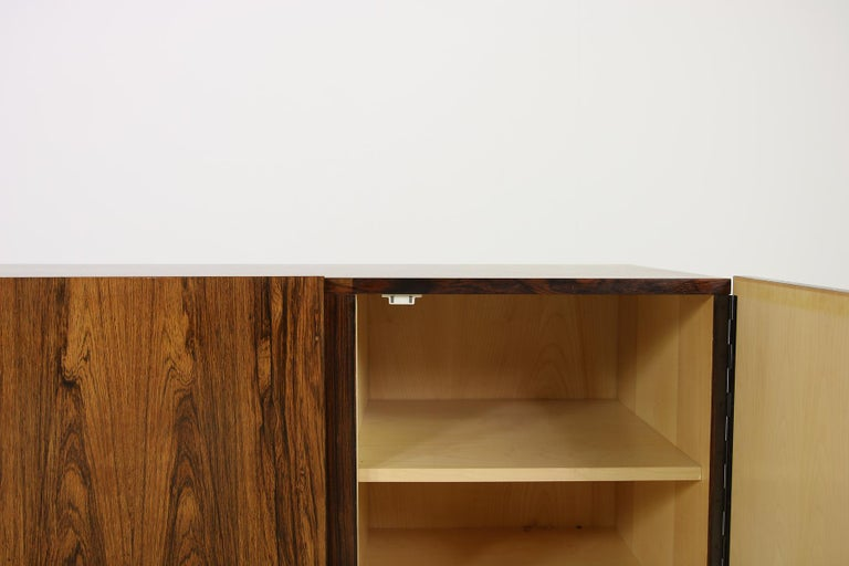 Rare 1960s Minimalist Sideboard on Metal Base, Drawers Inside Mid-Century Modern For Sale 4
