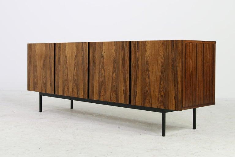 Rare 1960s Minimalist Sideboard on Metal Base, Drawers Inside Mid-Century Modern For Sale 7