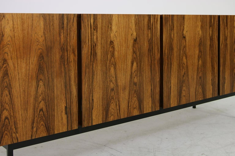 Rare 1960s Minimalist Sideboard on Metal Base, Drawers Inside Mid-Century Modern For Sale 9