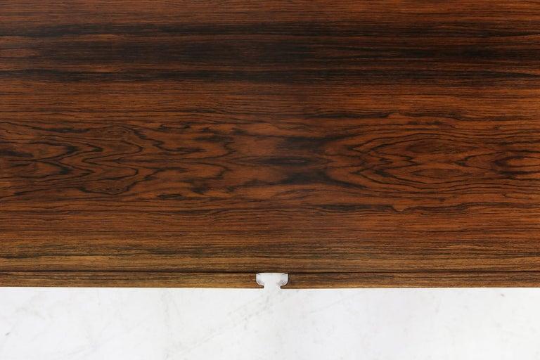 Rare 1960s Minimalist Sideboard on Metal Base, Drawers Inside Mid-Century Modern For Sale 10
