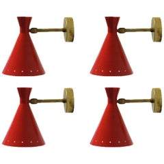 SPECIAL OFFER Set of Four Adjustable Italian Brass Red Sconces, Wall Lamps