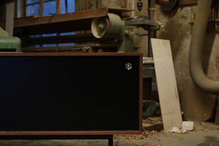 Sideboard Teak Nathan Lindberg Design Minimalismus, Schiebetüren aus Schwarzem Resopal 6