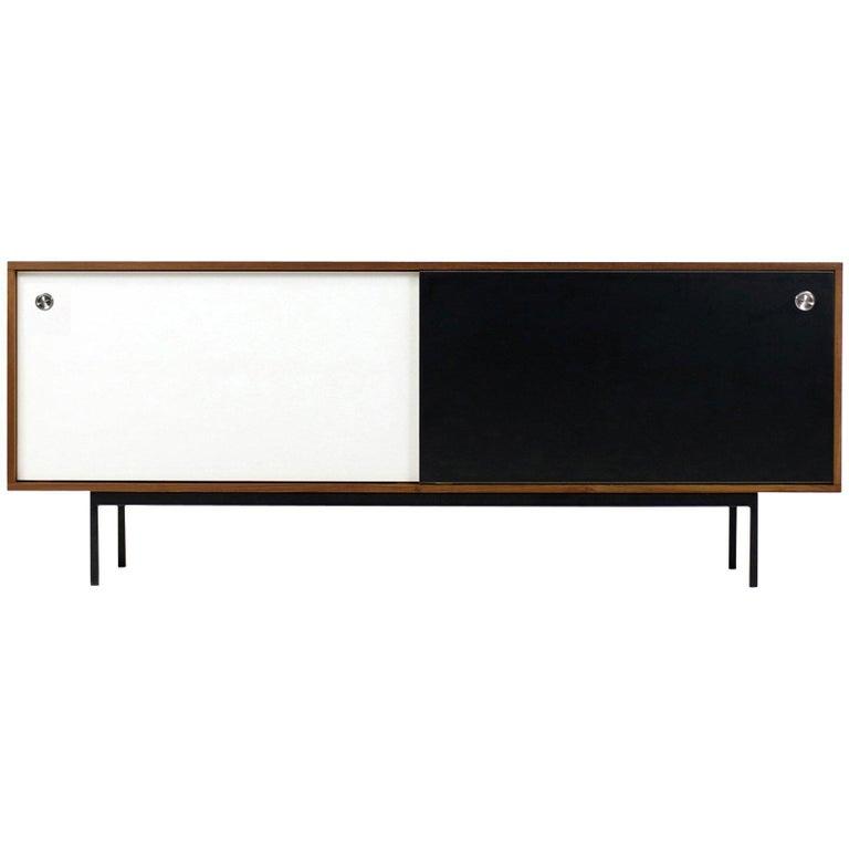Modern Teak Sideboard Nathan Lindberg Design, Model NL20 Black and White Doors For Sale