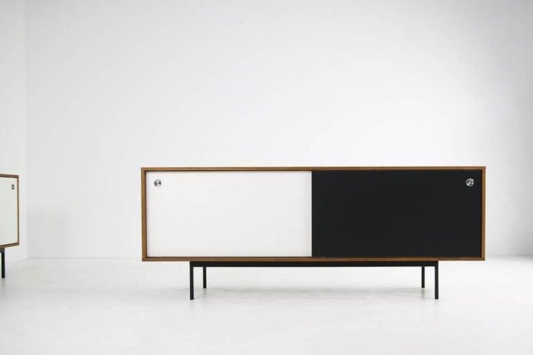 Mid-Century Modern Modern Teak Sideboard Nathan Lindberg Design, Model NL20 Black and White Doors For Sale