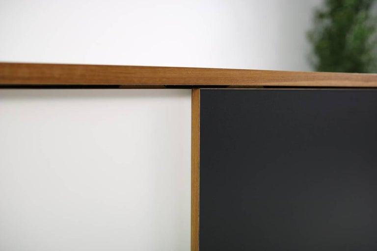 German Modern Teak Sideboard Nathan Lindberg Design, Model NL20 Black and White Doors For Sale
