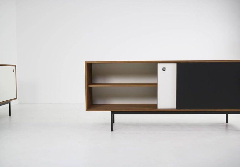 Contemporary Modern Teak Sideboard Nathan Lindberg Design, Model NL20 Black and White Doors For Sale