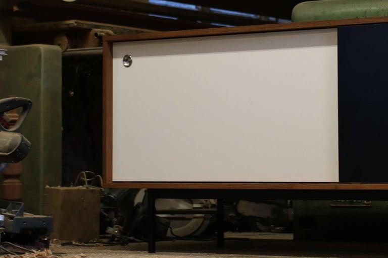 Modern Teak Sideboard Nathan Lindberg Design, Model NL20 Black and White Doors For Sale 2