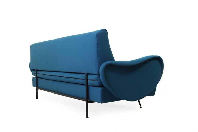 Italian Mid-Century Extendable Daybed Metal Frame & Brass Legs, Zanuso Style Italy 1960s For Sale
