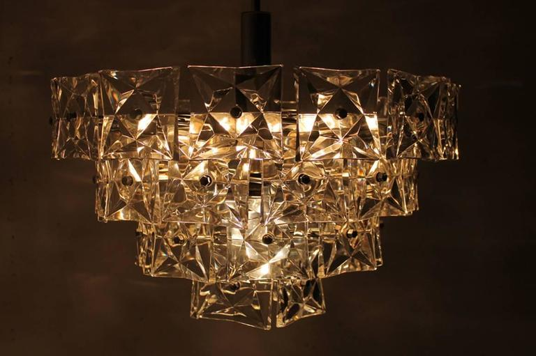 Kinkeldey Crystal Glass and Chrome Four-Tier Chandelier, Germany, 1970s For Sale 1