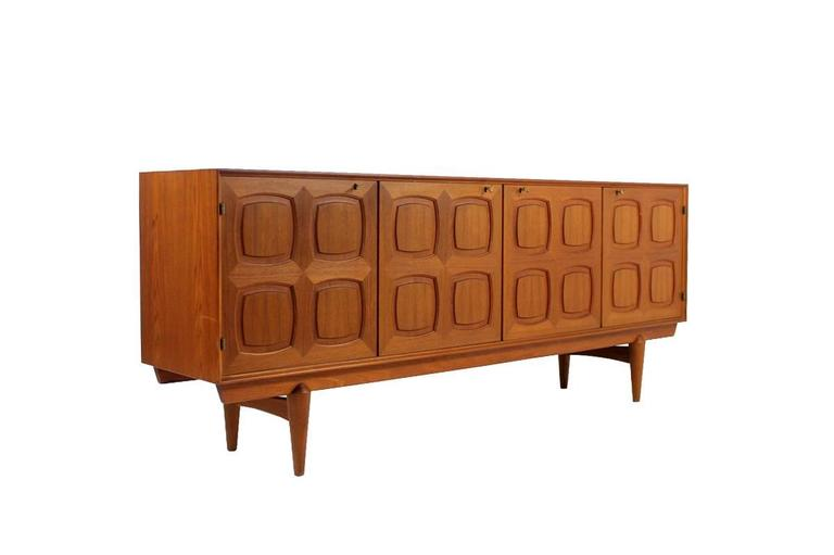 Norwegian Rastad and Relling Teak Graphic Sideboard, Gustav Bahus, Norway, 1960s For Sale