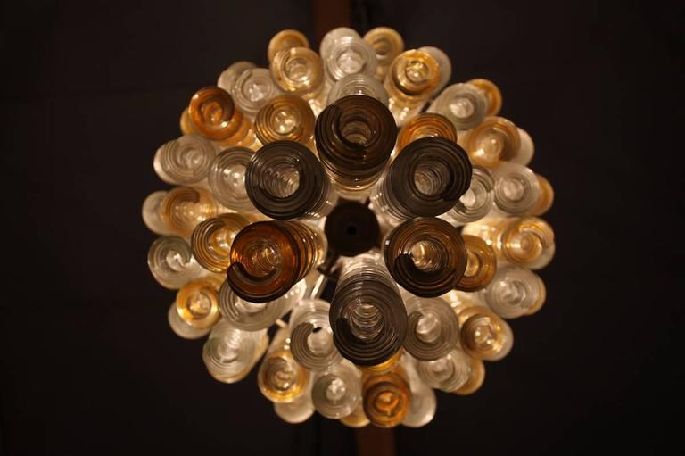 Mid-20th Century Italian Chandelier Twisted Murano Glass in Amber, White, Venini Attributed 1950s For Sale