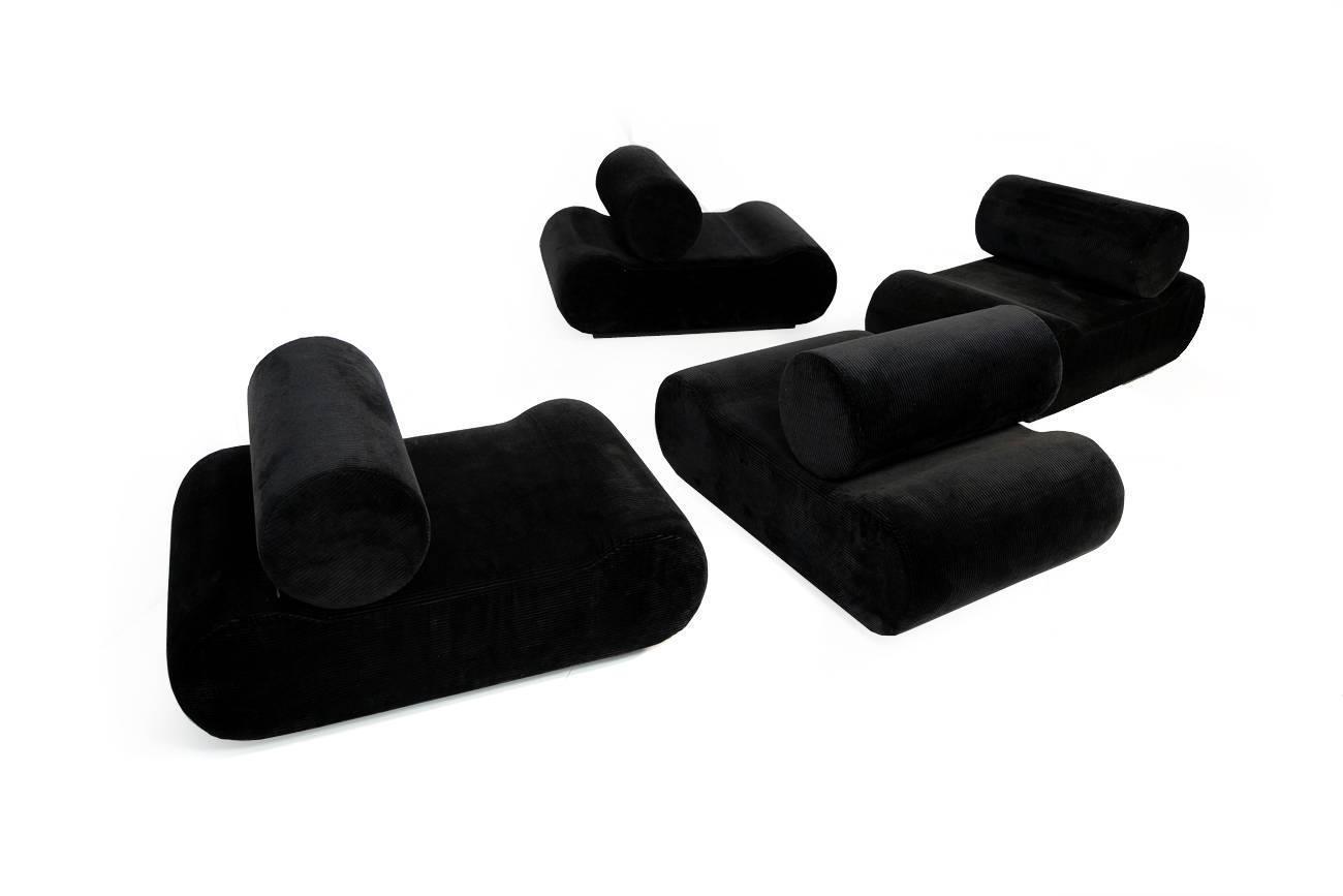 COR Modular Seating System Sofa Klaus Uredat for COR Germany 1974 black Daybed at 1stdibs