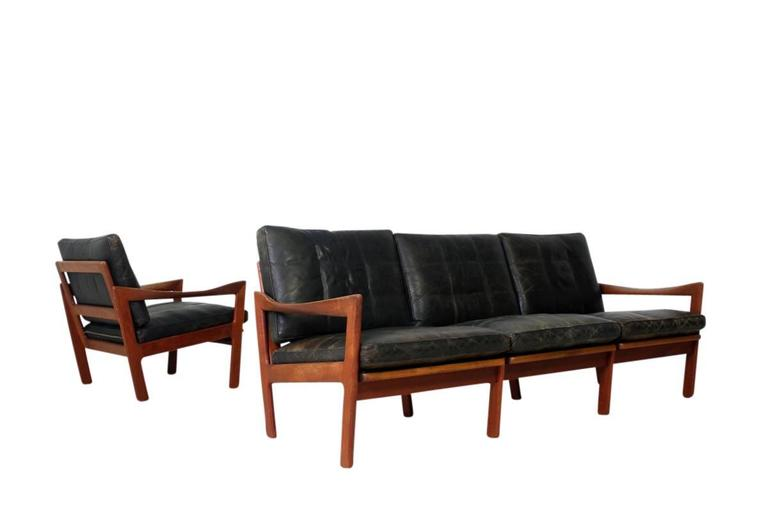 mid century modern illum wikkelso teak and leather sofa danish modern