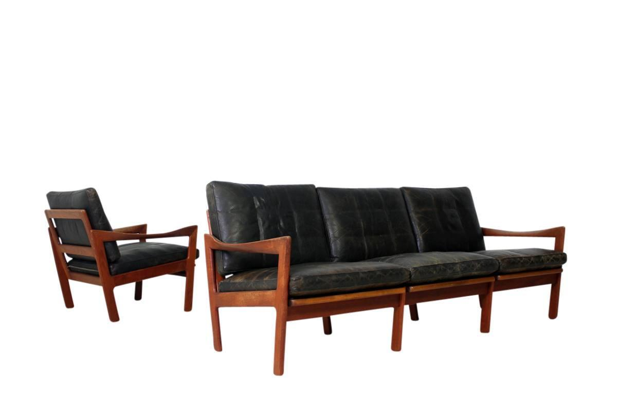 Mid-Century Modern Illum Wikkelso Teak and Leather Sofa ...