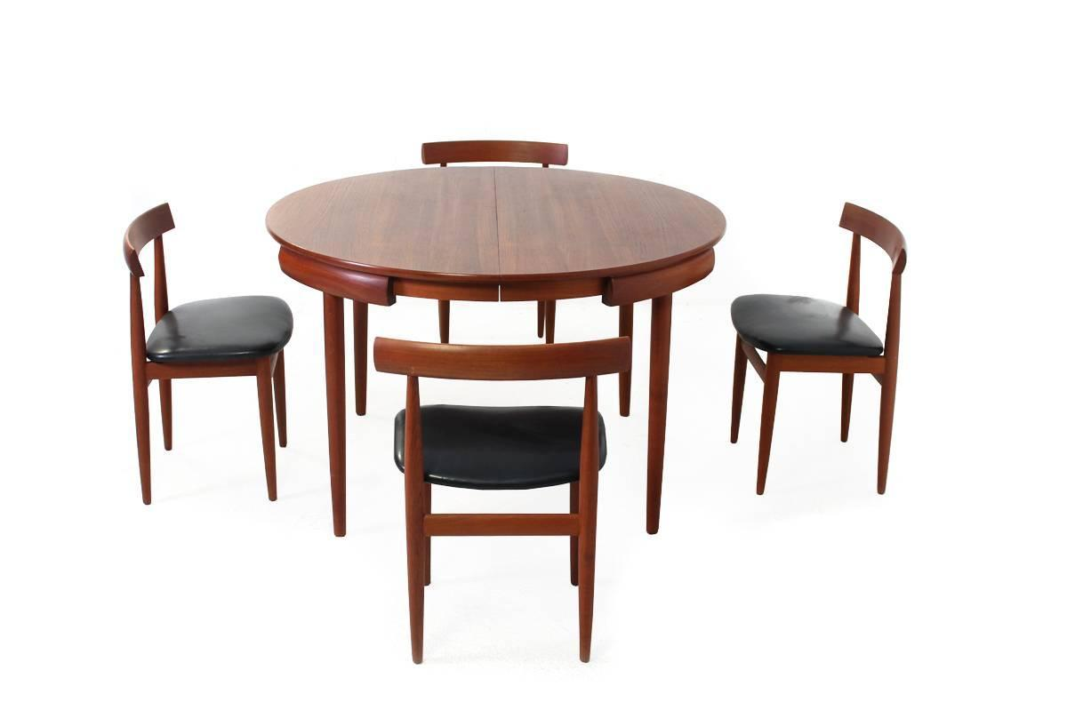 1960s dining set table and four chairs by hans olsen for - Four dining room chairs set ...