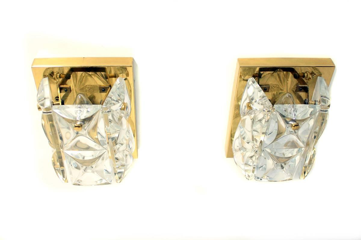 Exclusive Pair of Gold Plated Crystal Glass Sconces 1960s Brass at 1stdibs