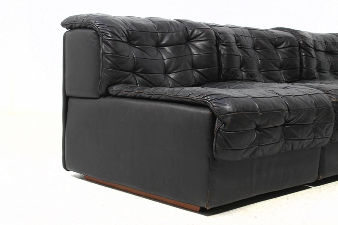 1970s vintage de sede ds 11 modular leather sofa at 1stdibs. Black Bedroom Furniture Sets. Home Design Ideas