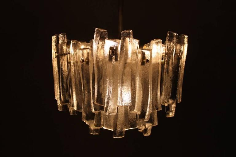 Kalmar Chandelier with Massive Iceglass Parts, Austria, 1970s, Frosted Glass For Sale 3