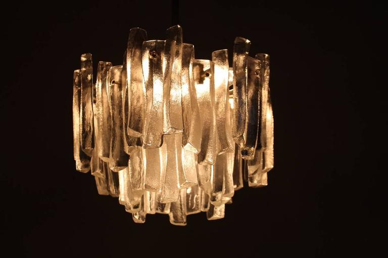 Austrian Kalmar Chandelier with Massive Iceglass Parts, Austria, 1970s, Frosted Glass For Sale