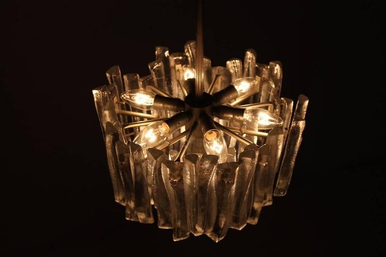 Kalmar Chandelier with Massive Iceglass Parts, Austria, 1970s, Frosted Glass For Sale 2