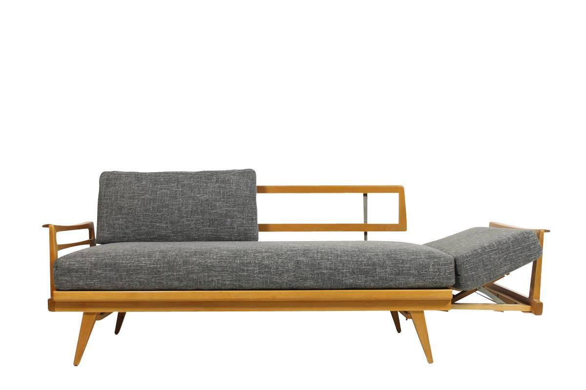 Mid century modern sofa knoll antimott beech wood daybed for Mid century modern day bed